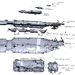 Homeworld 2 Concept Art - Rob Cunningham - Capital Ship Scale and Details