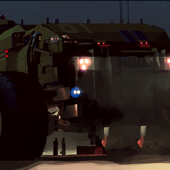 Baserunning and LAV at Night- Deserts of Kharak - Concept Art - BBI