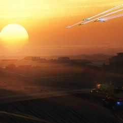 Sunset Flyby - Deserts of Kharak - Concept Art