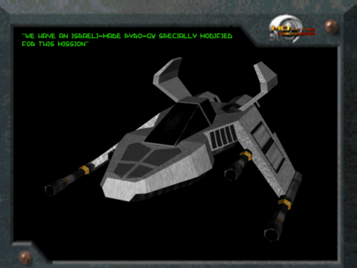RSMax' Pyro-GX model, version 1, in a mockup of Descent (1) level 1 briefing screen.
