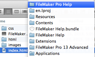 Right-click the help bundle, not the application.