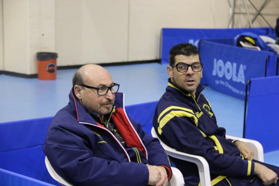 Coach Scotto e Mereu del Tennistavolo Norbello (Foto Gianluca Piu)