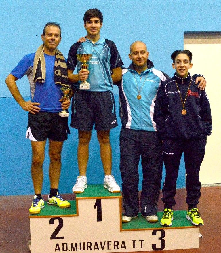 Il podio dei Terza categoria (Foto Luciano Saiu)