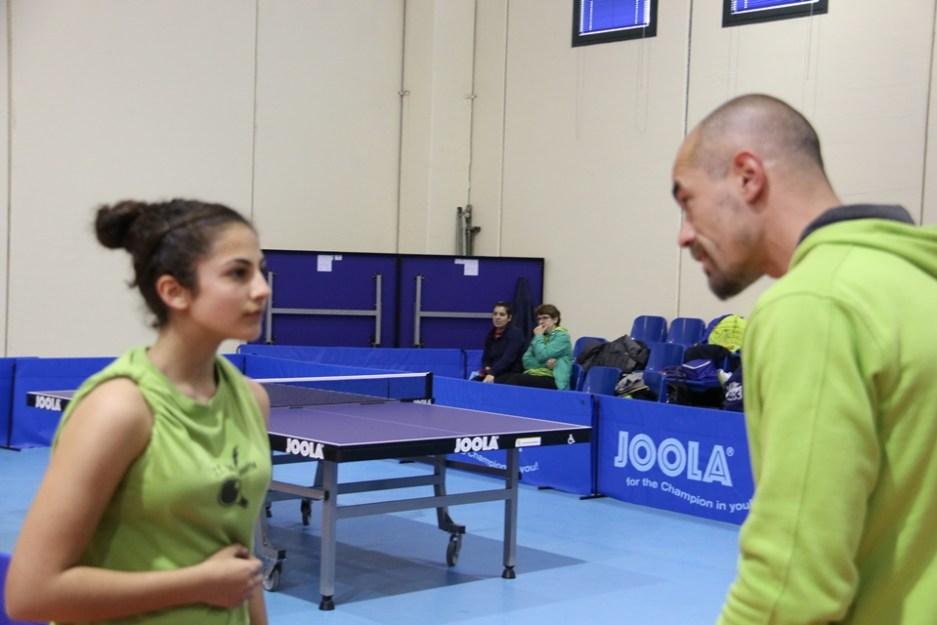 a sx Michela Mura con il tecnico Christian Ferro (Foto Gianluca Piu)
