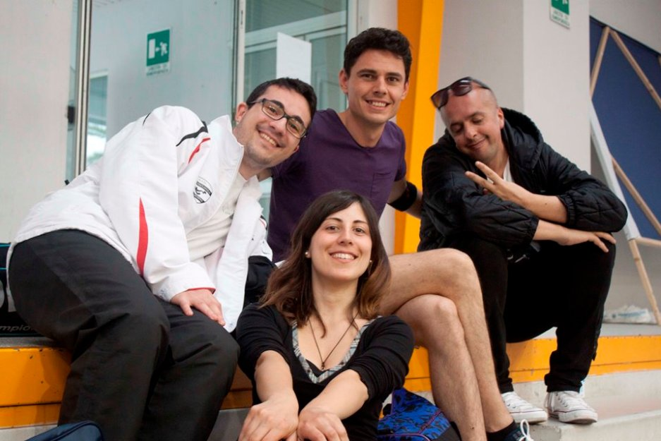 Eleonora Trudu con i suoi personal trainer Francesco Lai, Andrea Zuccato e Carlo Maulu