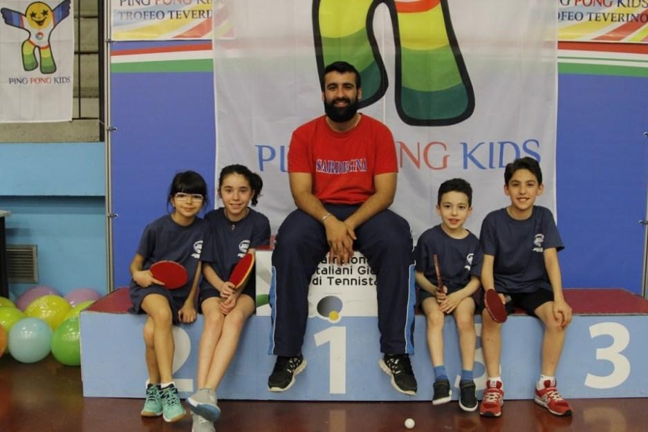 Stefano Curcio con i suoi quattro atleti al Teverino PPK (Foto Simone Cerza)