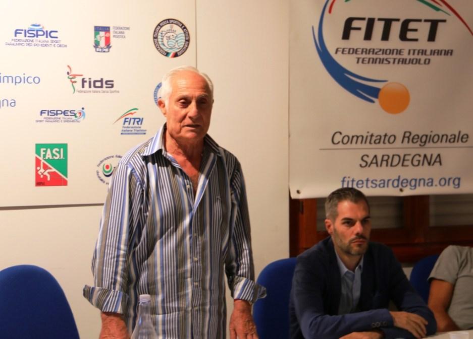 Il presidente del Coni Sardegna Gianfranco Fara durante l'assemblea (Foto Gianluca Piu)
