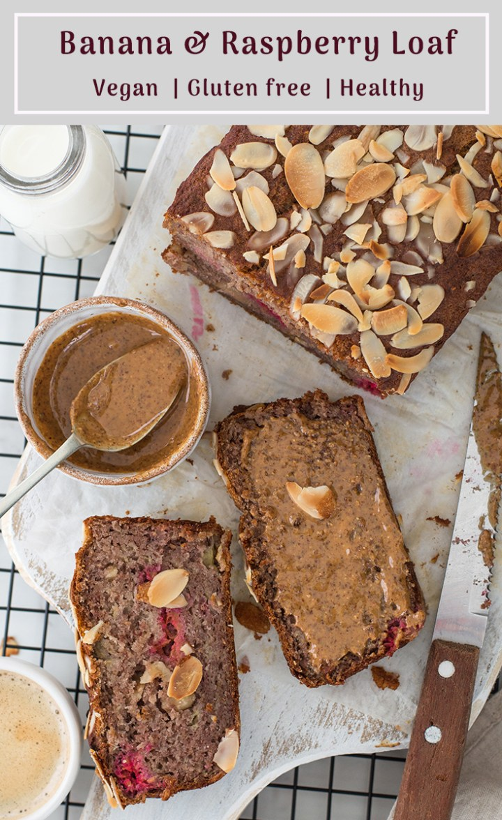 Healthy Vegan Banana & Raspberry Loaf