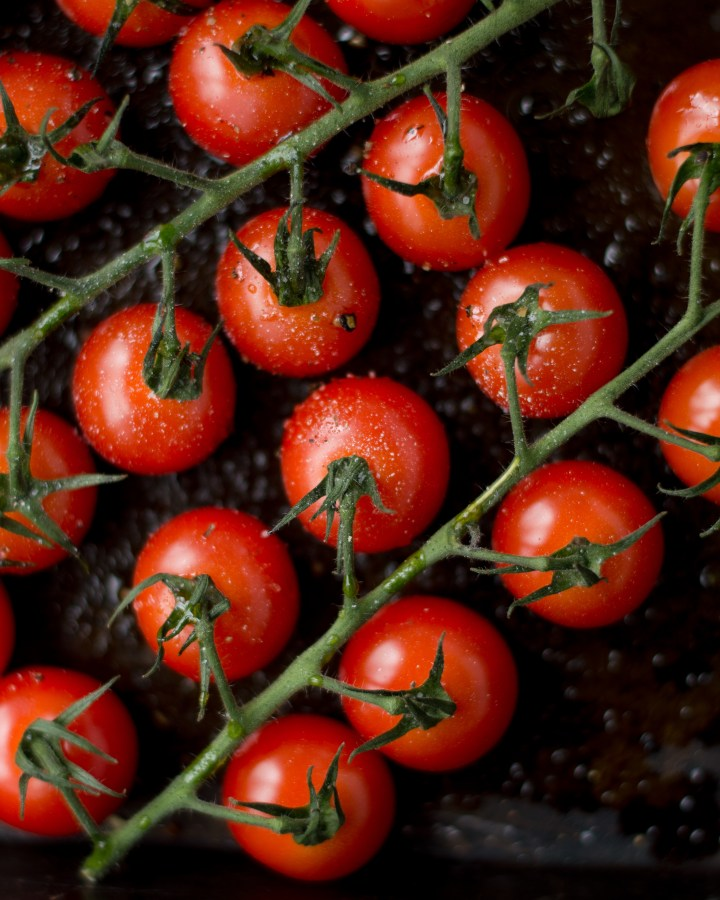 Fresh cherry tomatoes with salt & pepper