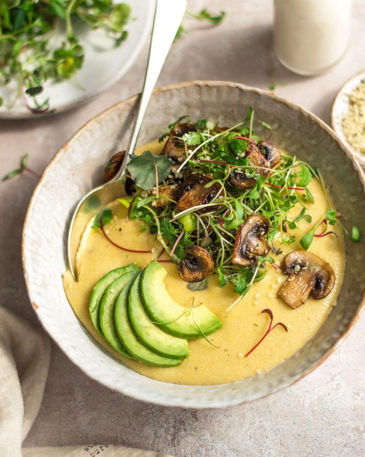 Cheesy Vegan Polenta - Fit Foodie Nutter