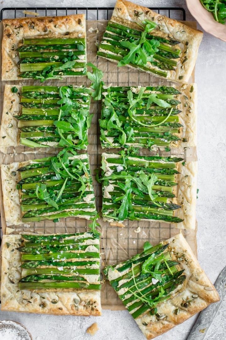 Top down view of asparagus tart