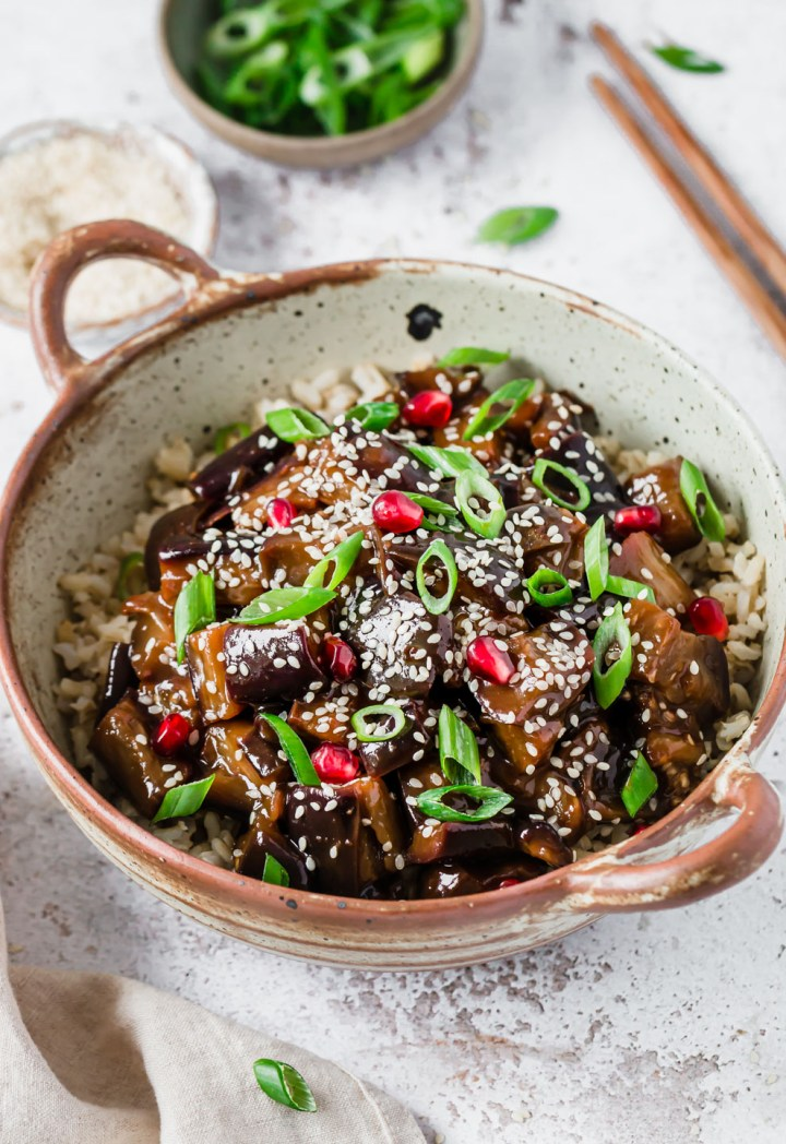 A bowl with vegan sticky aubergine & brown rice – Fit Foodie Nutter
