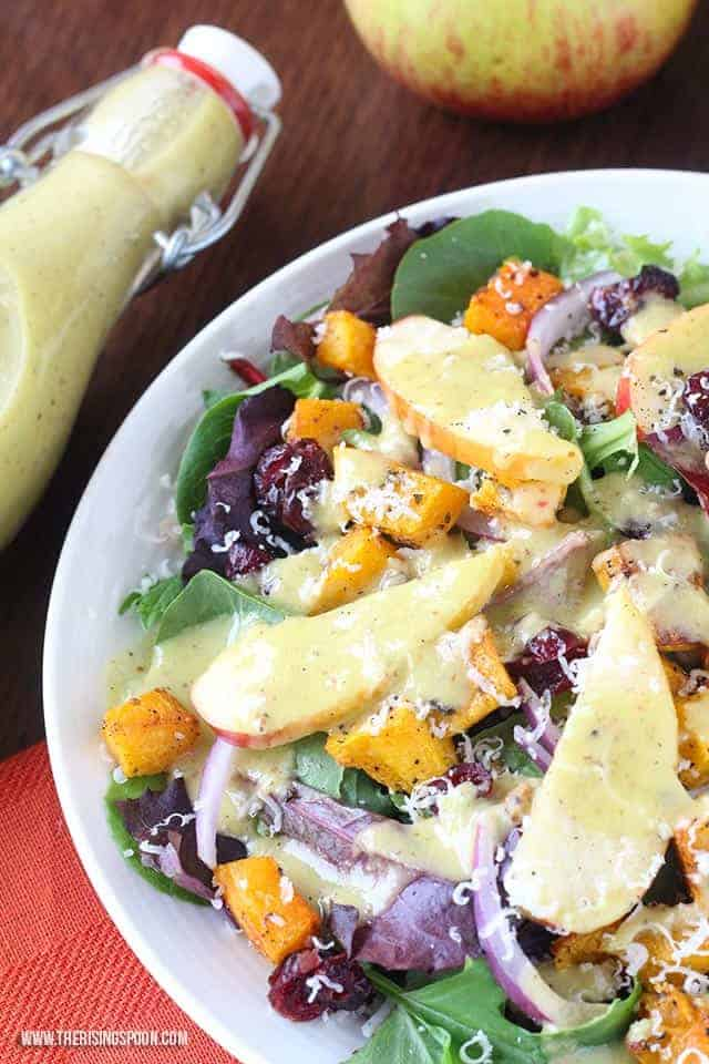 mixed greens salad with apples, butternut squash with apple cider vinaigrette