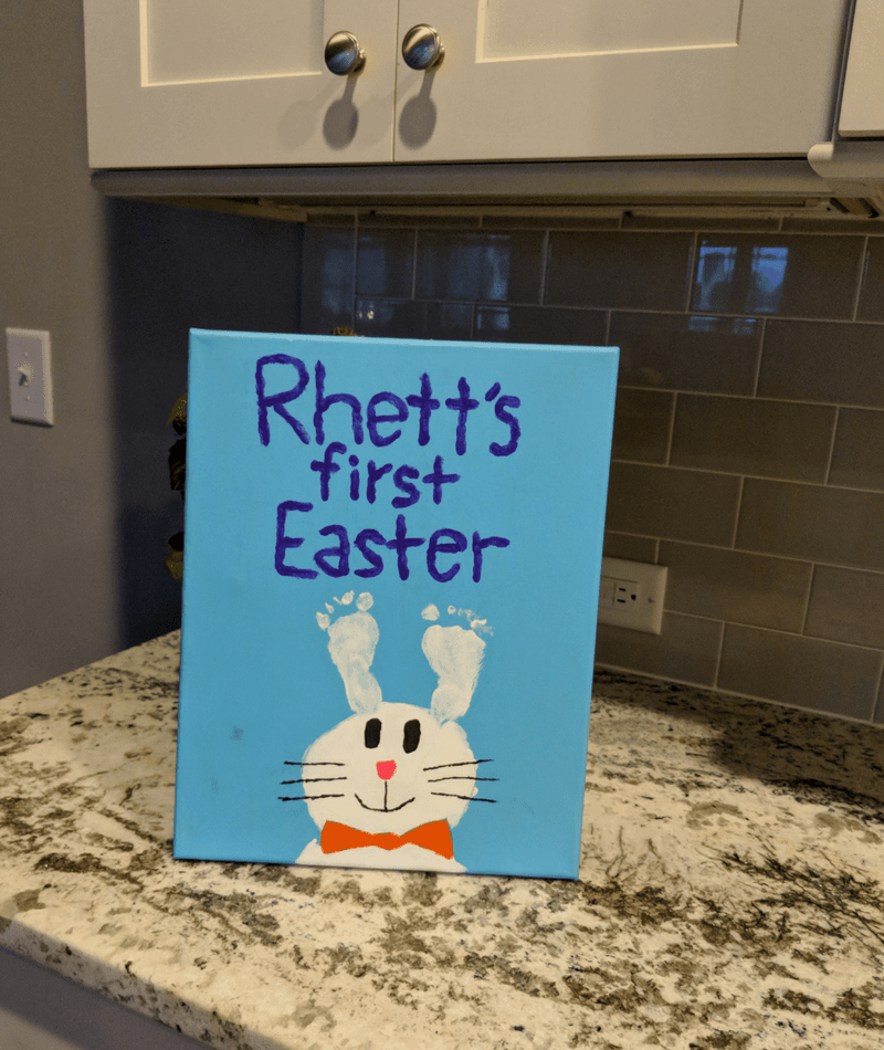 Rhett's first easter bunny rabbit ears with his feet painting