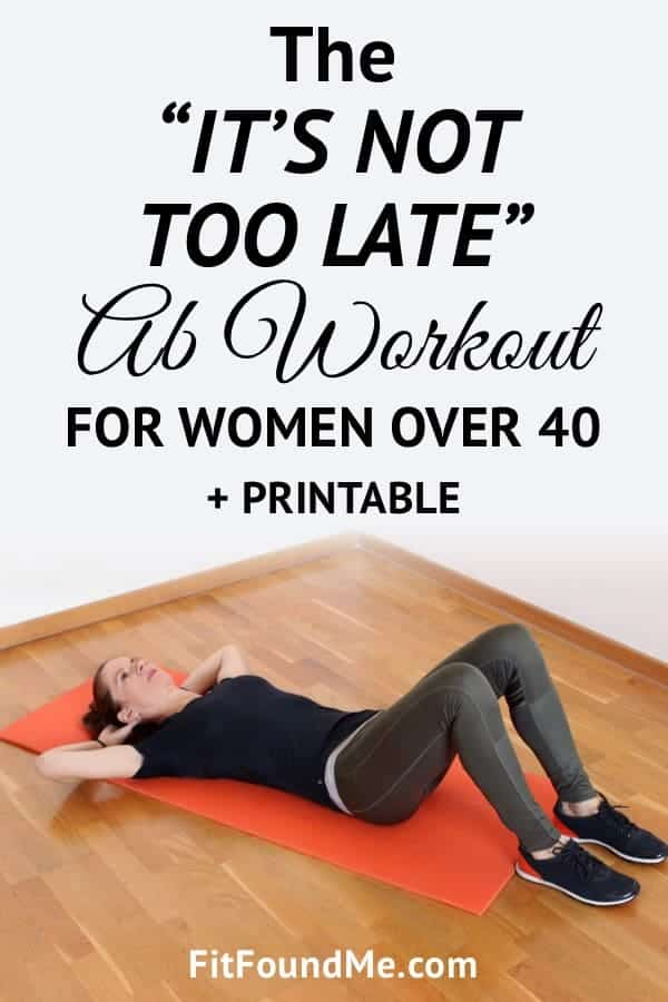 woman over 40 doing ab workout on red yogo mat