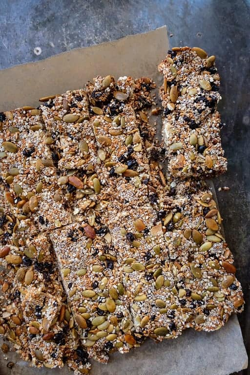 coconut chia bars side by side with nuts
