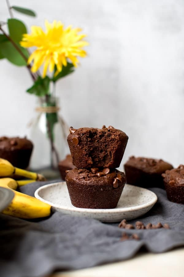 chocolate chia muffins stacked on a white plate