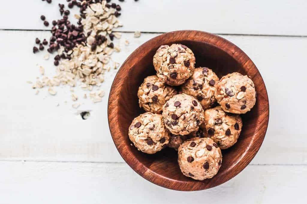 energy balls with chia seeds in a bowl