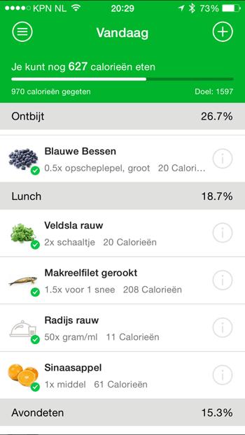 virtuagym-food-dagboek
