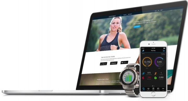 Garmin Fenix Chronos met computer en smartphone