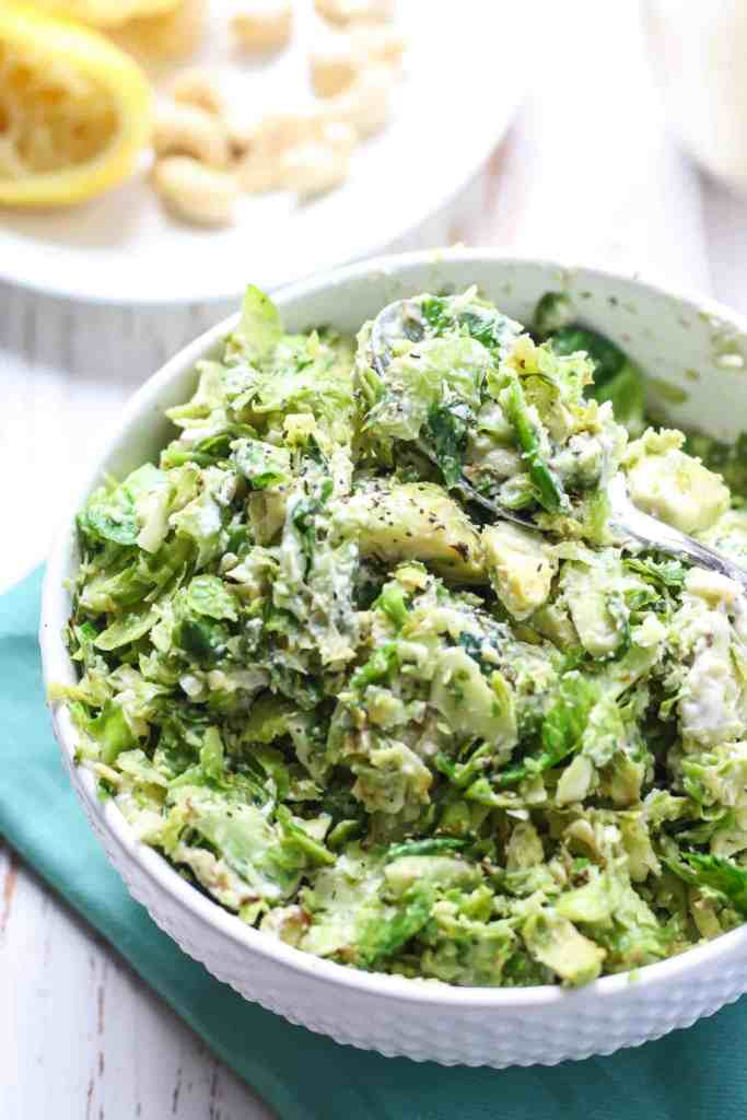 These Stovetop Shredded Brussels Sprouts with Lemon Pepper Cashew Dressing are an easy, flavorful side dish to add to your brunch menu. The homemade, vegan-friendly dressing takes these brussels sprouts to a whole new level!