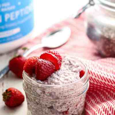 Strawberry Chia Seed Protein Pudding [ w/ collagen peptides ]