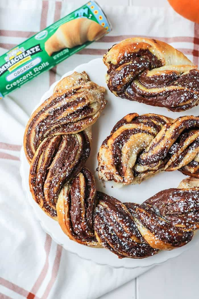 2 INGREDIENT Chocolate Braided Bread! Easier than it looks and delicious!