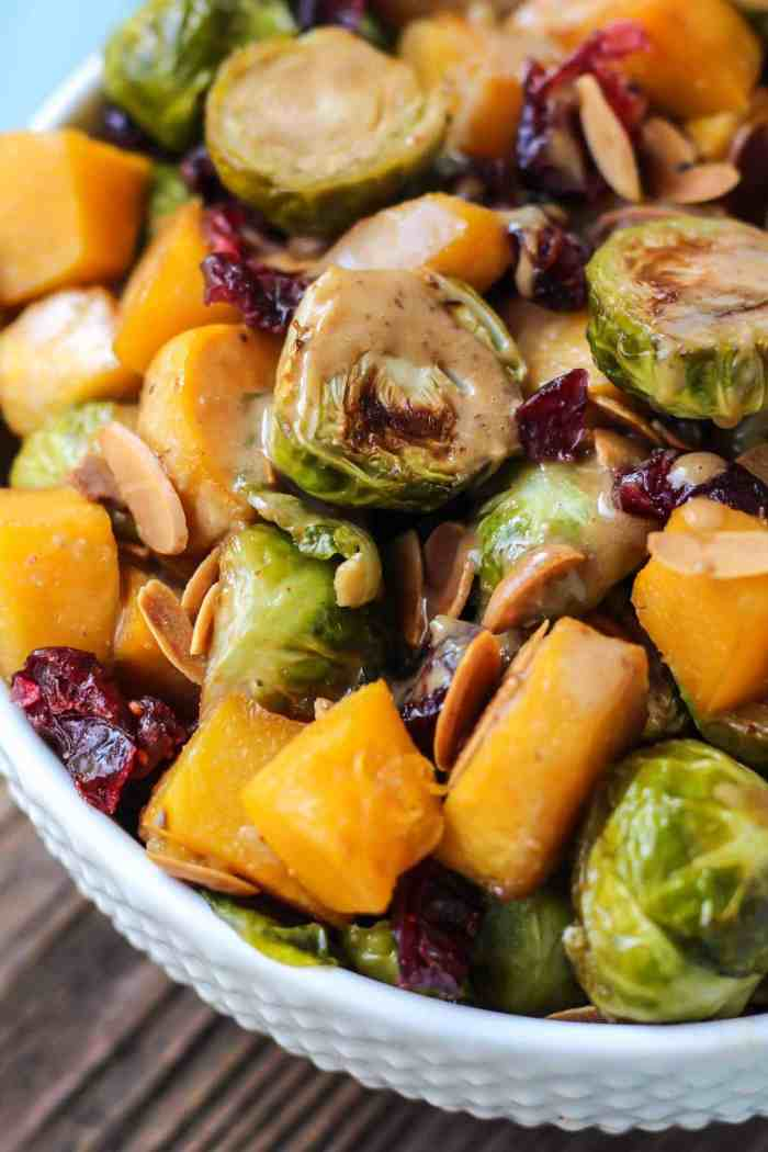 Maple Roasted Brussels Sprouts & Squash with an almond butter balsamic dressing