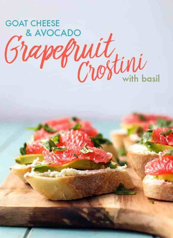 Crostini makes the best party appetizer. Change things up this year with some goat cheese, avocado, and Texas red grapefruit!