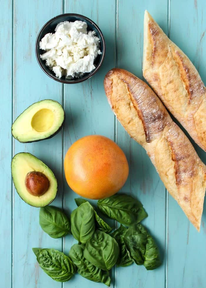 Crostini makes the best party appetizer. Minimal ingredients using goat cheese, avocado, and sweet red grapefruits!