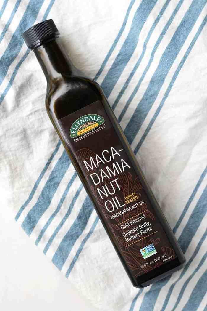 Macadamia nut oil to make dairy-free macadamia nut cookies!
