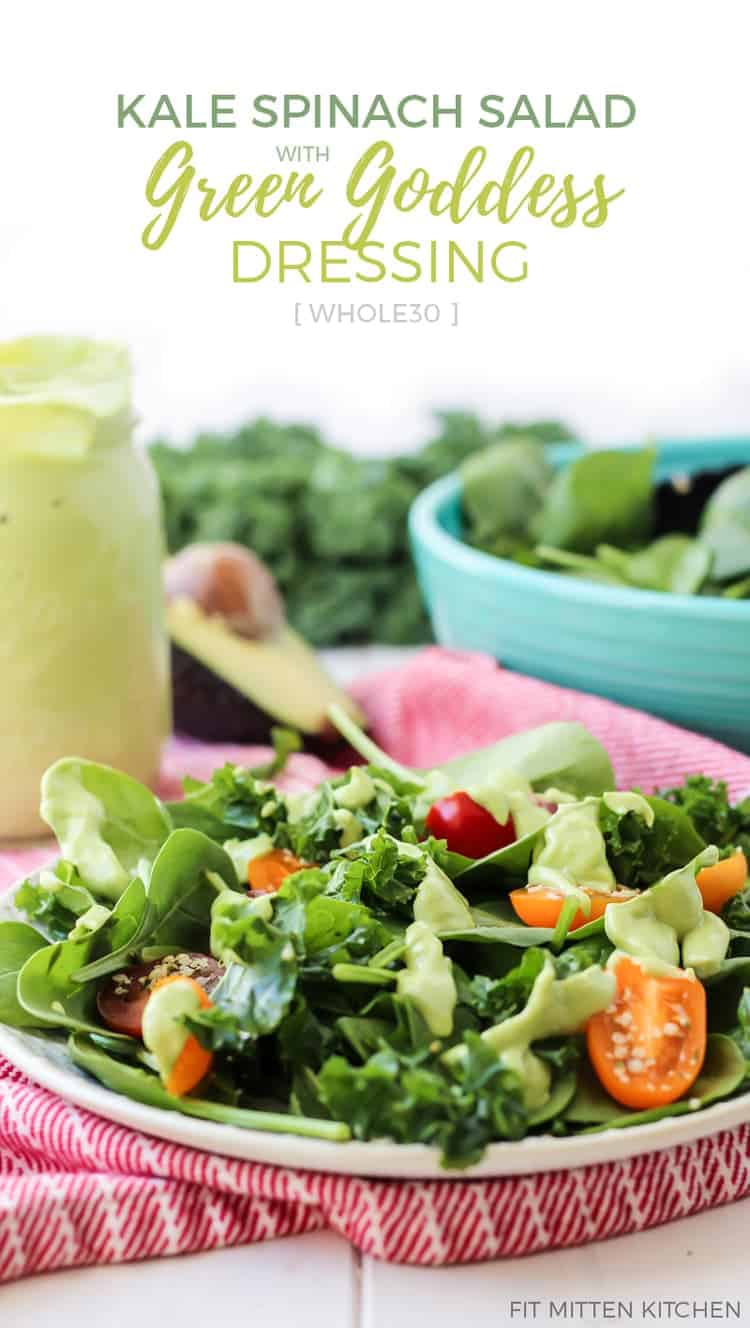 Simple Kale Spinach Salad with a creamy avocado green goddess dressing! (Whole30 compliant!)