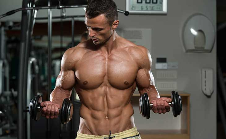 Man Working Out Upper Body Bicep Curl
