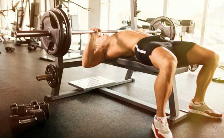 Man Working Out Upper Body Bench Press