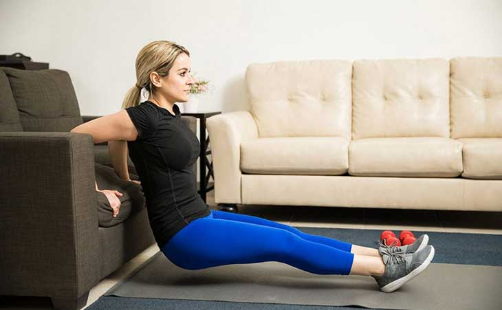 Woman Upper Body Exercise Tricep Dips