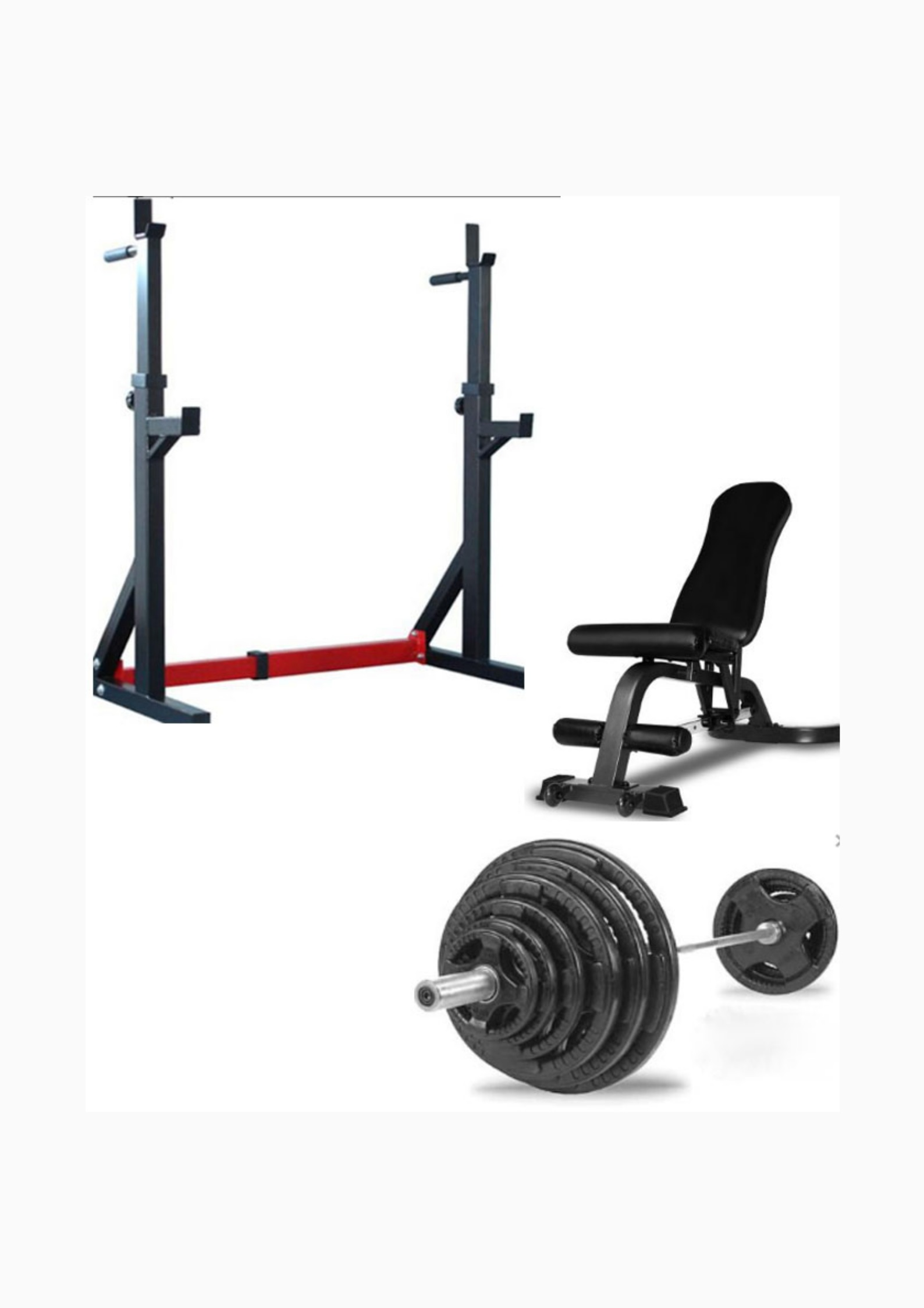 Home Gym Package: Squat Stand , Adjustable Bench , Oly Bar