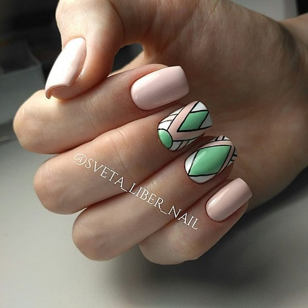 Pastel Colored Geometric Nail Art Design