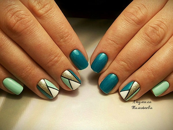 Glittered Geometric Nail Art