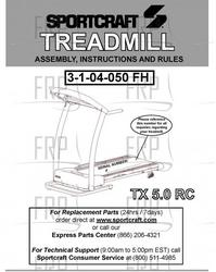 Sportcraft Tx 5.0 Rc Treadmill Owners Manual
