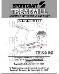 Sportcraft Tx 5.0 Rc Treadmill Owners Manual