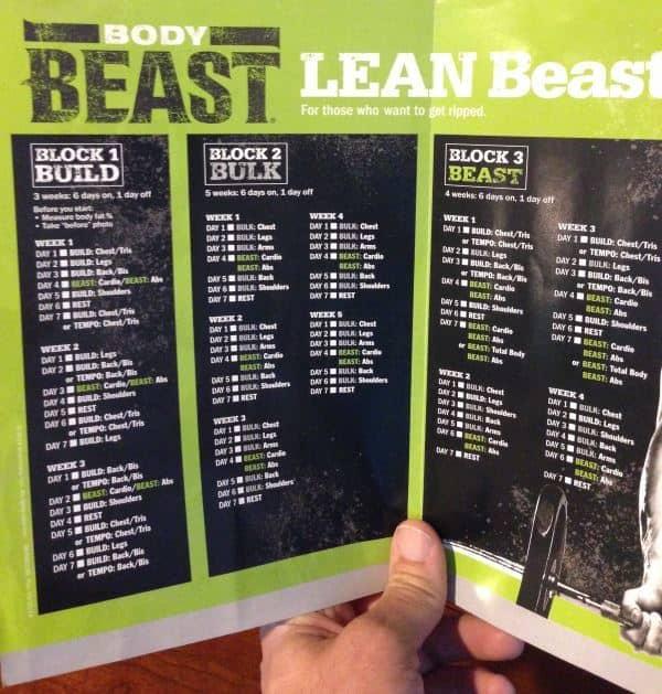 body beast lean workout schedule