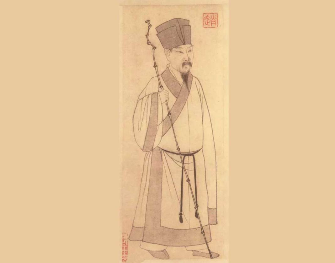 This painting, depicting Su Shi (蘇軾), appears as the frontispiece in the Album of Both Odes on the Red Cliff (赤壁二賦冊), a calligraphic work by Zhao Mengfu. It was painted by Zhao Mengfu to supplement his calligraphy