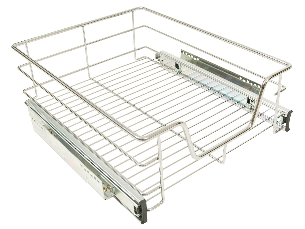 kitchen sliding baskets value city furniture sets accessories chrome veg on ball bearing