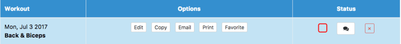 Copy Workouts button is in the Options Column