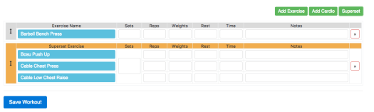 New Online Workout Creator Features: Supersets Step 3