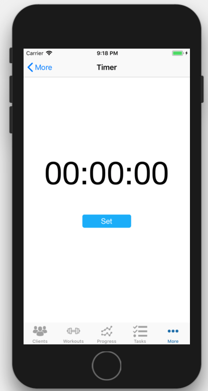 iOS Interval Timer App Personal Trainer Set Button