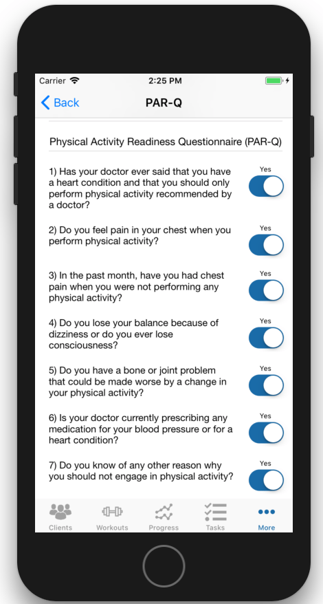 PAR-Q iOS App Physical Activity Readiness Questions