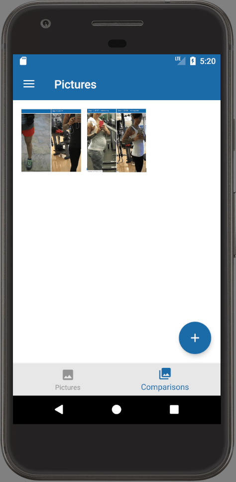 Progress Pictures in Android App Comparison Image Tab
