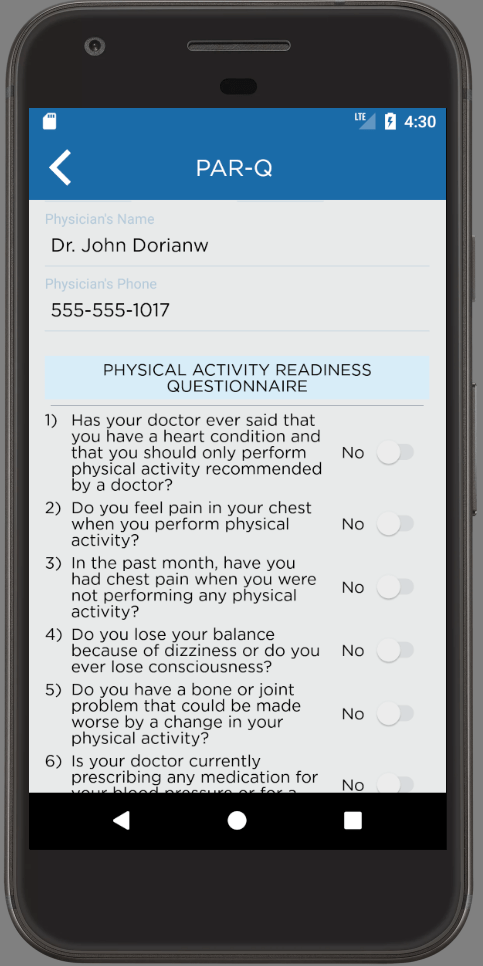 PAR-Q Android App Physical Activity Readiness Questionnaire Fill Out Form