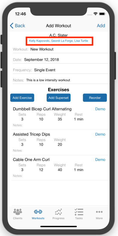 Creating Workout Plans for multiple Clients At Once Mobile App Done